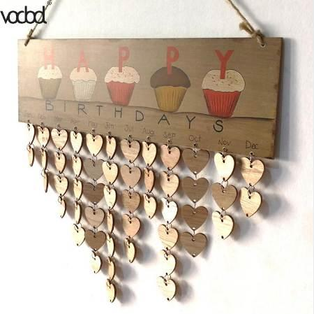 best selling VODOOL DIY Wall Calendar Cake Happy Birthday Printed Wooden Calendar Sign Special Dates Reminder Board Home Hanging Decor Gifts
