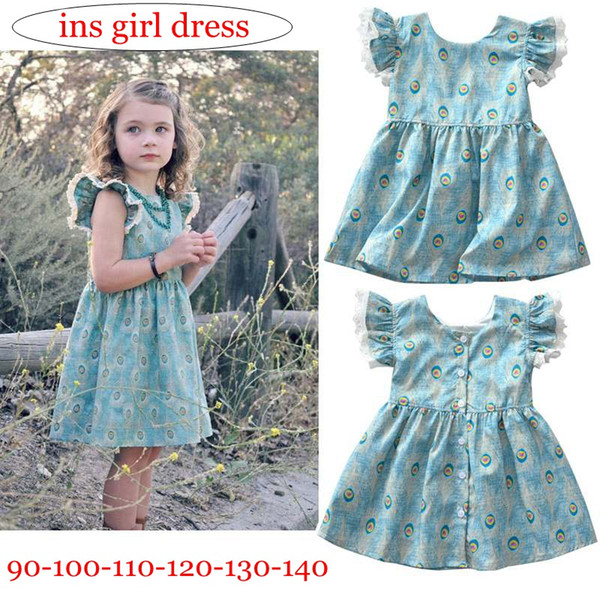 INS Girls flying short sleeves dress baby girls peacock hair printed princess skirt 2018 new style kids summer dresses clothes