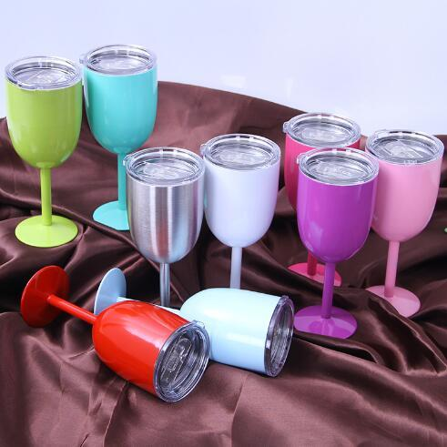 9 Colors 10oz Wine Glasses Stainless Steel Vacuum Insulated Cups Red Wine Cups Stem Wine Goblet With Lid CCA9252 50pcs