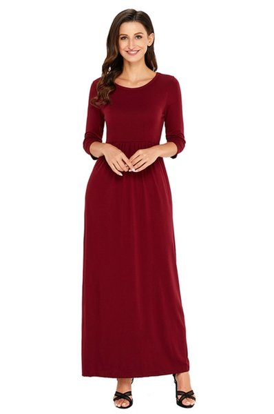 Vogue dress European and American station simple fashion design, round neck seven point sleeves with pockets, high waist fold dress.