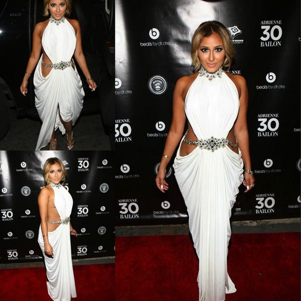 High Neck Sexy Evening Dresses Sheath Pleated High Slit Beaded Crystal White Prom Dresses Evening Wear Party Gowns