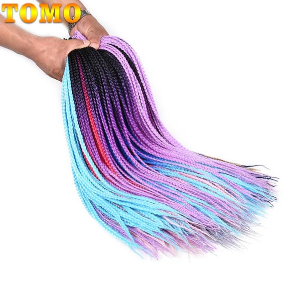 TOMO Hair 24Inch Ombre Box Braids Crochet Braid Hair 1 2 3 Tone Ombre Brown Purple 3S Synthetic Braiding Hair For Black Women