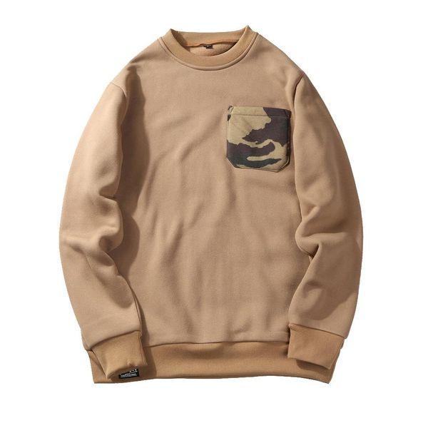 Fashion hoodies men sportswear clothing casual streetwear o neck male hoody sweatshirt with camouflage pocket US/EU size S-XXL