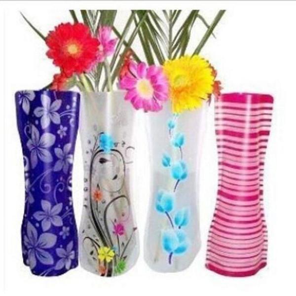 Creative Clear Eco-friendly Foldable Folding Flower PVC Vase Unbreakable Reusable Home Wedding Party Decoration Fashion 12*27cm