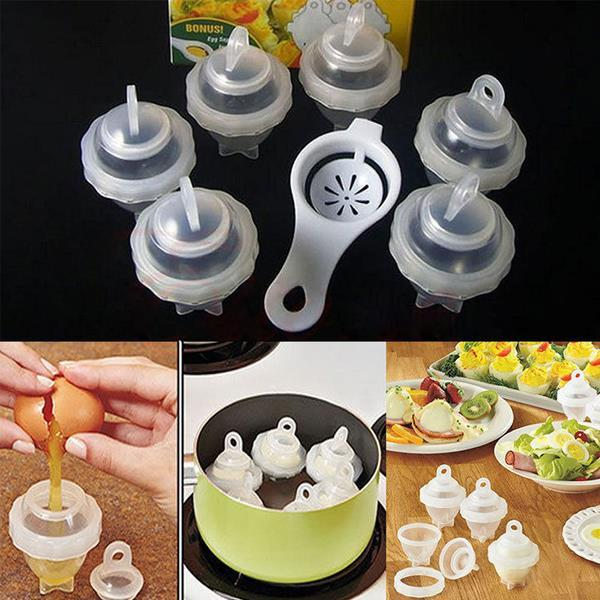 7pcs /Set Hard Boil Boiled Eggs Cooker Without Shells +Egg Separator Kitchen Cooking Tools