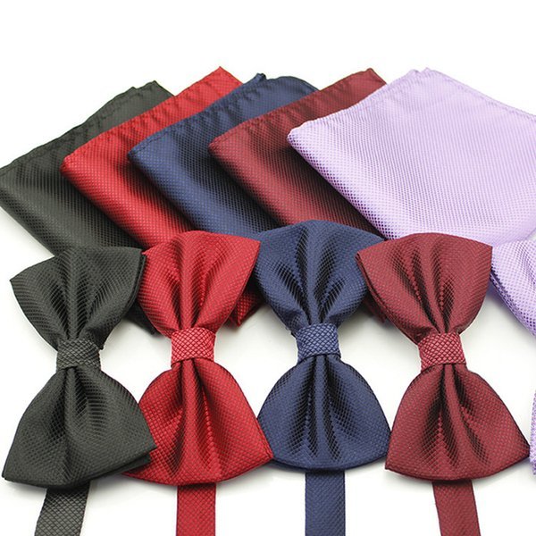 2018 New Promotion Bow Tie 24 Polyester Multiple Colors Men Bowtie Suit Set Silk Woven Butterfly Bow Tie Pocket Square Handkerchief Hanky