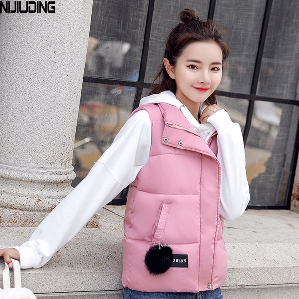NIJIUDING M-XXXL 2018 New Parka Spring Autumn Slim Velvet Women Vest Jacket Warm Cotton-padded Winter Plus Size Waistcoat female