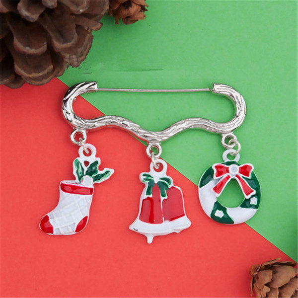 Pin Brooches Christmas Wreath Bell White Red & Green Enamel (Can Hold ss5 ss8 Pointed Back Rhinestone) 46x 42mm,1 PC