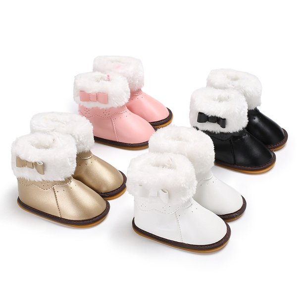 Kids Boots Newborn Thick Hairy Baby Shoes Winter Toddler Child Booties Girls Sweet First Walker Boys PU Leather Warm Snow Booty