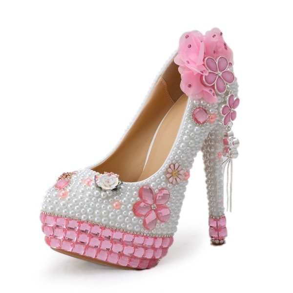 2018 Handmade Pink Crystal High Heels Bling Bling Rhinestone and White Pearl Wedding Shoes Bridal High Heel Party Prom wedding Shoes