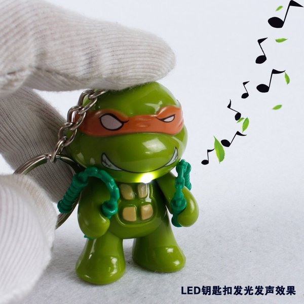 Free Shipping Promotion Gift Sound & LED Light Keychain Cartoon Turtles Blossom Key Ring
