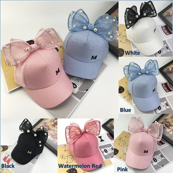 Wholesale Summer Chic Baby Unisex Cute Lace Bowknot Bead Baseball Cap Sports Sun Hat for Kids Boy Girls Travel Accessories 5 Color KC94