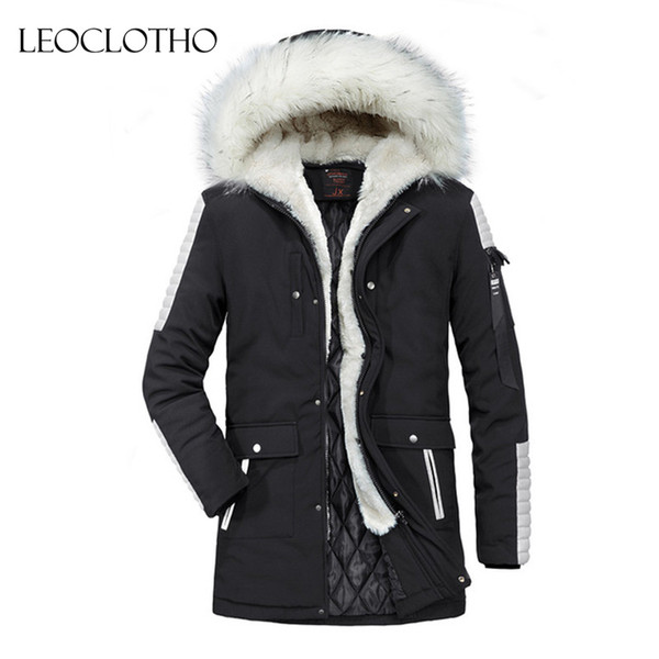 LEOCLOTHO Parka Men Slim Thicken Fur Hooded Outwear Warm Coat winter coat men mens fur jackets