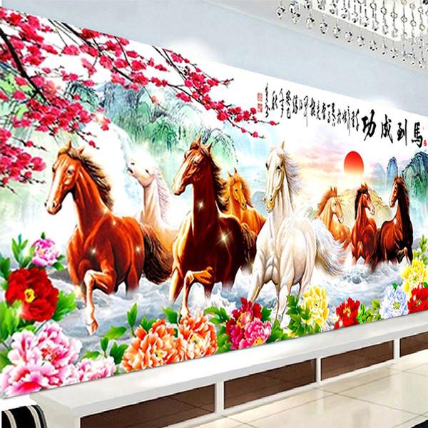 2018 new arrival 5d diy diamond painting eight horse diamond animal cross stitch plum rhinestone paste horses home decor