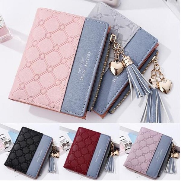 Women's Fashion Cute Embossed PU Leather Wallet Tassel Zippers Purse with Coin Pocket for Girls Ladies