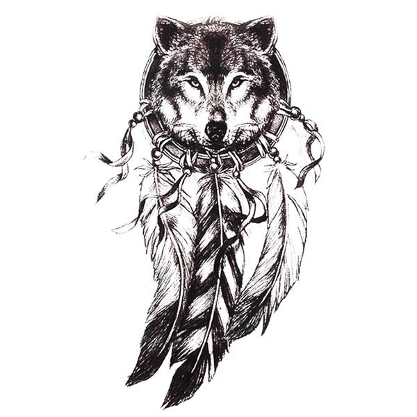 Acheter Sketch Noir Autocollant De Tatouage Femmes Hommes 3d Body Art Loup Dreamcat Dream Plume Indien Fleur De Tatouage Temporaire Autocollants De
