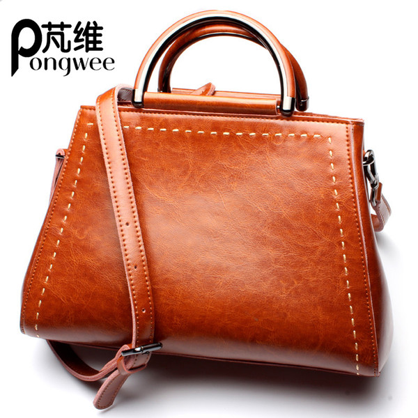 PONGWEE Genuine Leather Big Women Handbags High Quality Casual Female Fashion Bags Trunk Tote Brand Luxury Large Ladies Shoulder