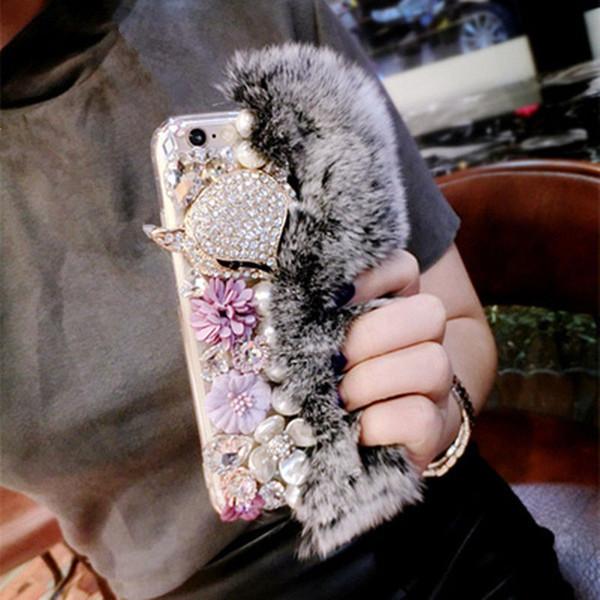 Luxury Rabbit Hair Fur Fox Head Case Bling Diamond Rhinestone Pearl Flower TPU Case cover for iphone x 8 7 6s plus