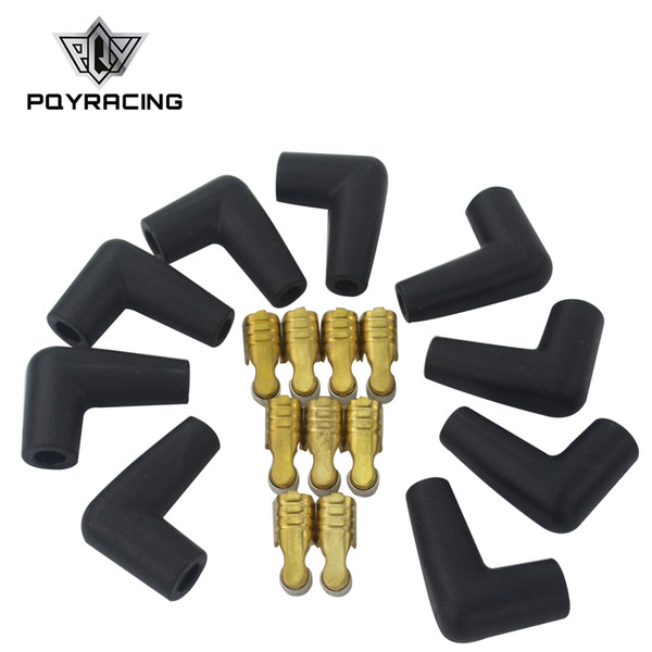 top popular PQY- 9 pcs   set Universal New Spark Plug Wire Male HEI Style Rubber Boots Terminals Ends Connector PQY-SSC03 2021