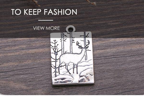 Deer Wapiti in the Forest Animal vintage pendants in jewelry making 3D landscape rectangle shape DIY Charm