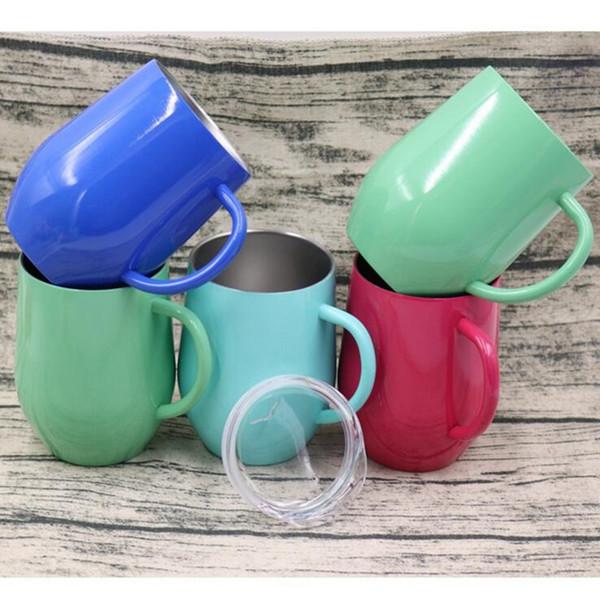 Tasse à café en verre en forme d'oeuf en acier inoxydable en forme de U avec coquille d'isolation en forme de U