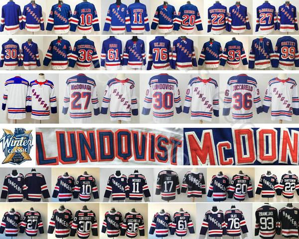 New York Rangers Hockey 30 Henrik Lundqvist 36 Mats Zuccarello 20 Chris  Kreider 22 Kevin Shattenkirk 76 Brady Skjei 93 Mika Zibanejad Jersey 19ff0b187