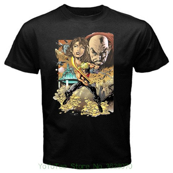 New Fashion Cool Casual T Shirts Flash Gordon Cartoon Classic Retro Series Movie T-shirt Black Basic Tee