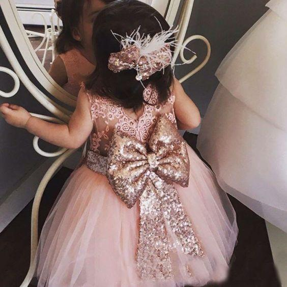 Blush Pink Flower Girl Dresses for Wedding Rose Gold Sequins Bow Lace Crew Neck Tea Length Tutu Birthday Baby Infant Toddler Pageant Dresses