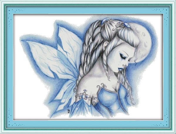Peintures de décoration de fille de beauté féerique bleue, ensembles de travaux manuels de broderie pour broderie au point de croix à la main