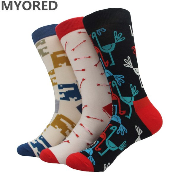 MYORED brand fashion Mens & womens colorful combed cotton socks wedding gift business socks for man dress animal bird