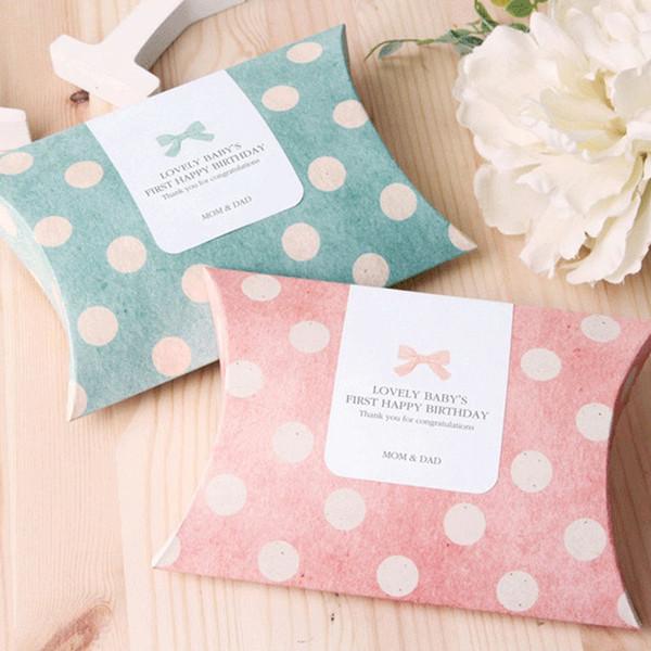lotto 20 pz / lotto rosa / verde cuscino scatola di caramelle puntini regalo di carta sacchetto di carta regalo decorazioni per feste di nozze baby shower favore