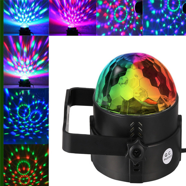 LED Disco Ball Light Remote Control RGB Party Lamp Portable Colors Sound Actived Crystal Magic Stage Light for Parties KTV Club