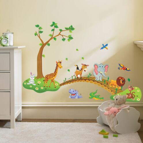 Free shipping 3D Cartoon Jungle wild animal tree bridge lion Giraffe elephant birds flowers wall stickers for kids room living room home dec