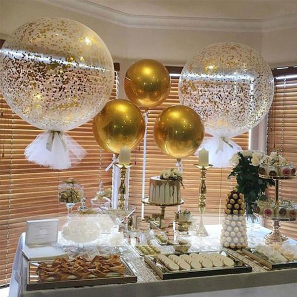 50 unids 22 pulgadas colorido 4D esfera redonda en forma de papel de aluminio globo boda boda fiesta de cumpleaños decoración suministros al por mayor