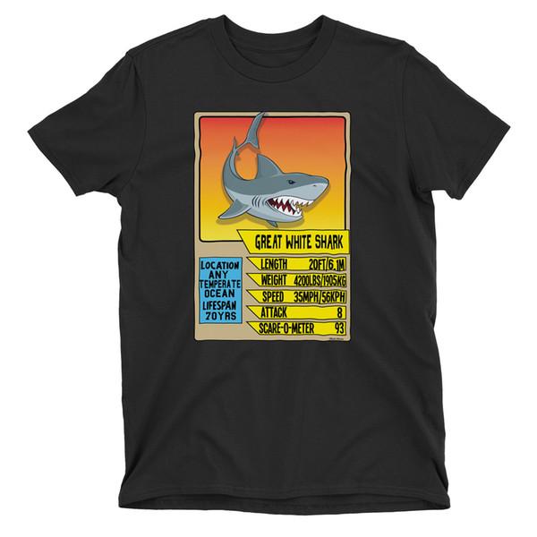Mens GREAT WHITE SHARK T-Shirt Top Trump Teeth Fish Fact Card Game Birthday Gift