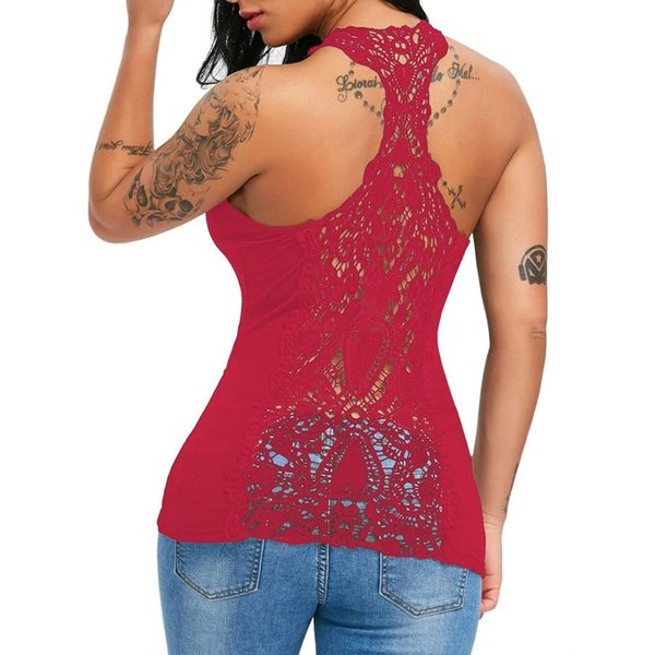 fe855684eff276 red lace vest top Promo Codes - Sexy Womens U-neck Halter Lace Solid Vest