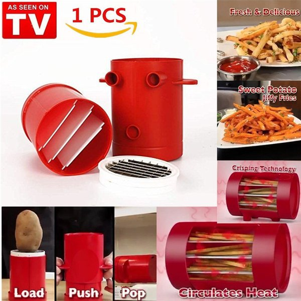 Jiffy Fries Potatoes Maker Potato slicers French Fries Maker French Fries Cutter Machine & Microwave Container 2-in-1 mk434