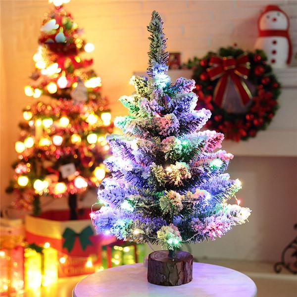 Artificiale Flocking Snow Christmas Tree LED Multicolor Lights Decorazione natalizia Dropship 170902