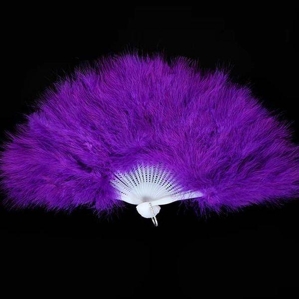 Pliage de plumes de fan-plume de marabout fait à la main 21-artisanat pour la fête de la danse de mariage décoration