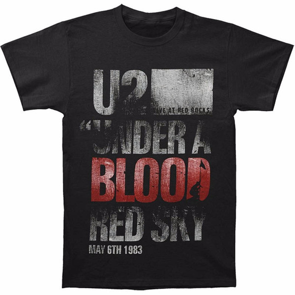 Middle Aged Men'S Design Crew Neck Short-Sleeve U2 Under A Blood Red Sky T Shirts