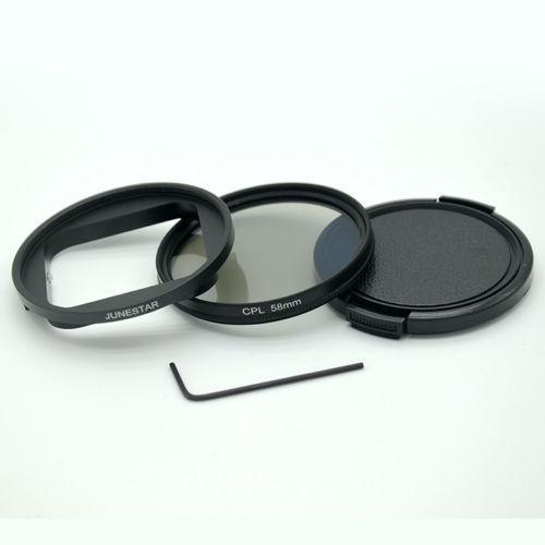 58MM CPL Filter Objektivdeckel UV Filter + Adapterring für wasserdichtes Gehäuse Gopro5