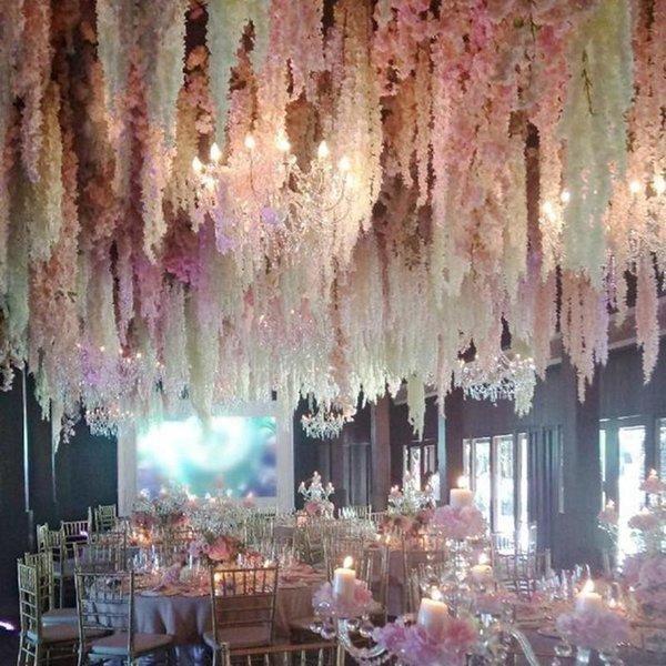 34 CM (13 pulgadas) Elegante Flor de seda artificial Wisteria Vine Rattan Para bodas Centros de mesa Decoraciones Ramo Guirnalda Ornamento casero