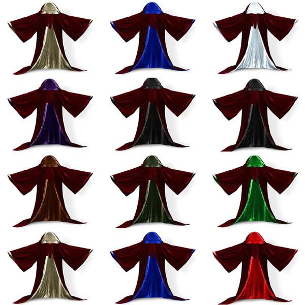 Wicca Christmas.2018 Long Sleeves Velvet Hooded Cloak Wedding Cape Halloween Wicca Christmas Hooded Party Witchcraft Cape Medieval Wicca Robe Kids From Tian1979