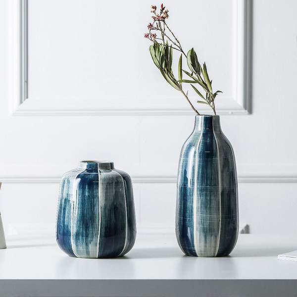 Купить со скидкой indigo blue ceramic vase simple lines flower vases decorative floral vase centerpiece accessories fo