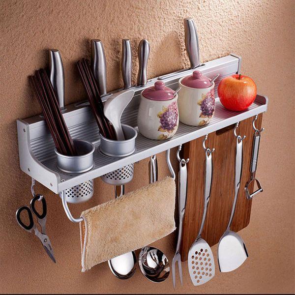 2019 Aluminum Kitchen Storage Rack Pantry Pan Pot Organizer Cookware Holder  Hooks Spice Dinnerware Wall Shelf 50cm J2Y From Bowse, $33.27 | DHgate.Com