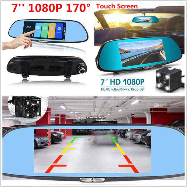 7'' Car Dash Cam Car DVR HD1080P Touch Screen Dual Lens Rearview Mirror Video Camera Recorder DHL Free Shipping