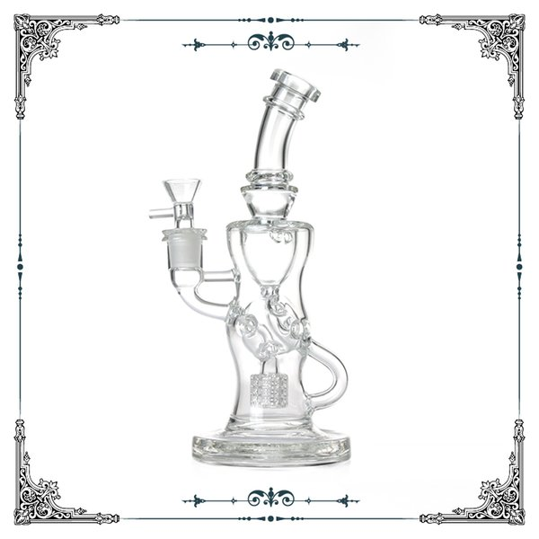 Fab Klein glass Recycler bong matrix tyre percolator bongs with hole glass waterpipes smoking hookah water recycler bong free shipping