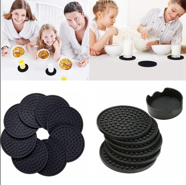 4.3inch 6pcs/set Black Round Silicone Drink Coasters Cup Mat Cup Costers Tableware dishes with holder 60pcs AAA780