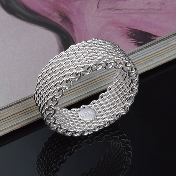 size6-9 Free Shipping 925 Silver Ring Fine Fashion Net Ring Women&Men Gift Silver Jewelry Finger Rings R20