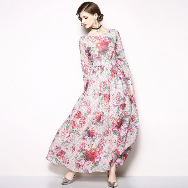 2019 Holiday Beach Dress Maxi Tunic Dresses Women Long Sleeve Vintage Print  Floral Dress Plus Size Clothing From Sinofashion, $46.84 | DHgate.Com